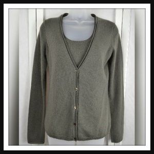 Magaschoni Cashmere Gray 2pc. Top & Cardigan